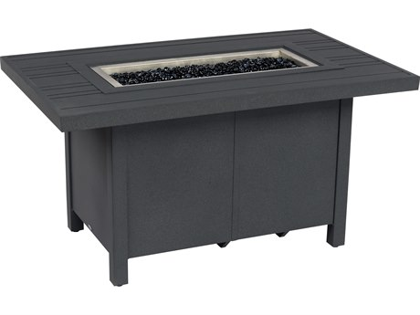 Woodard Aluminum 50''W x 30''D Rectangular Tri-Slat Top Fire Pit Table