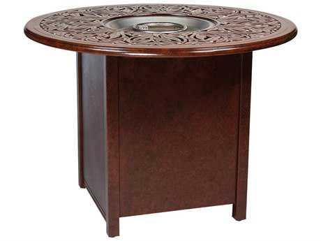 Woodard Aluminum 25.50 Square Counter Height Fire Table Base with Round Burner WR65M749
