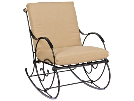 Woodard Wellington Cushion Wrought Iron Rocker Lounge Chair