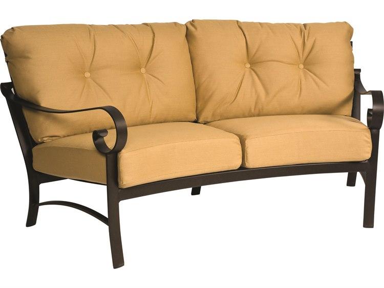 Woodard Belden Cushion Aluminum Crescent Loveseat PatioLiving