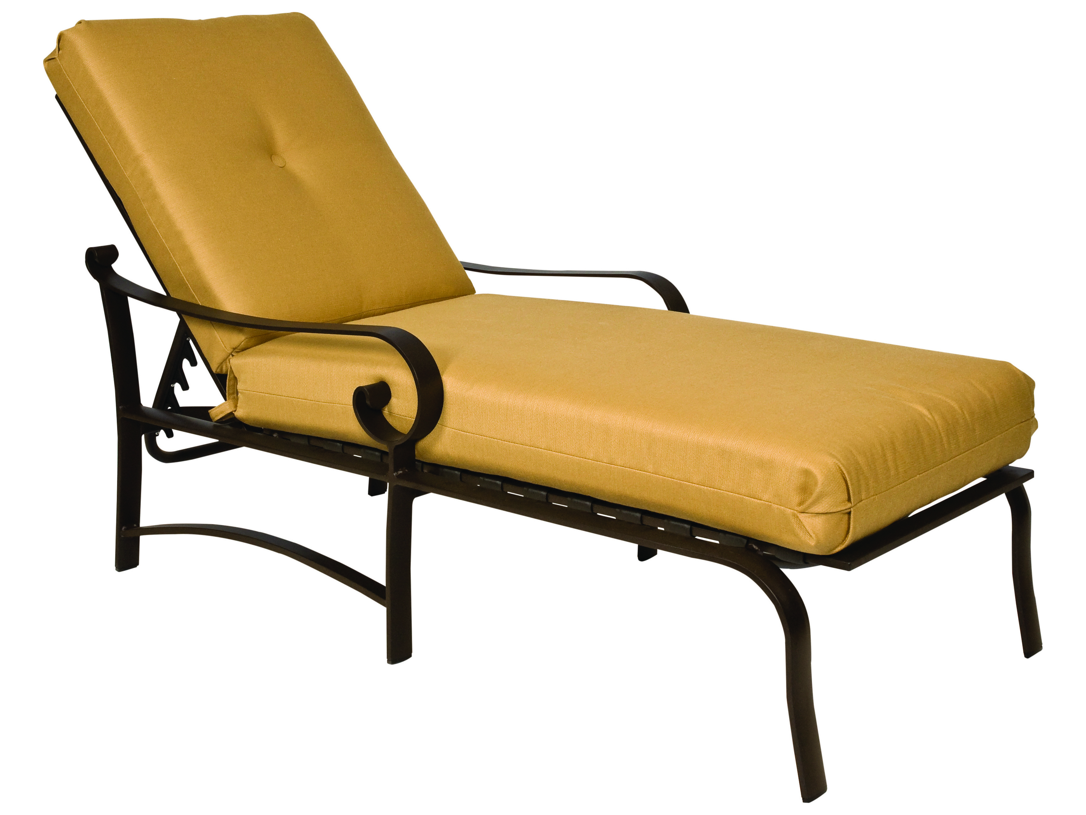 Woodard belden cushion aluminum adjustable chaise lounge for Chaise longue textilene alu