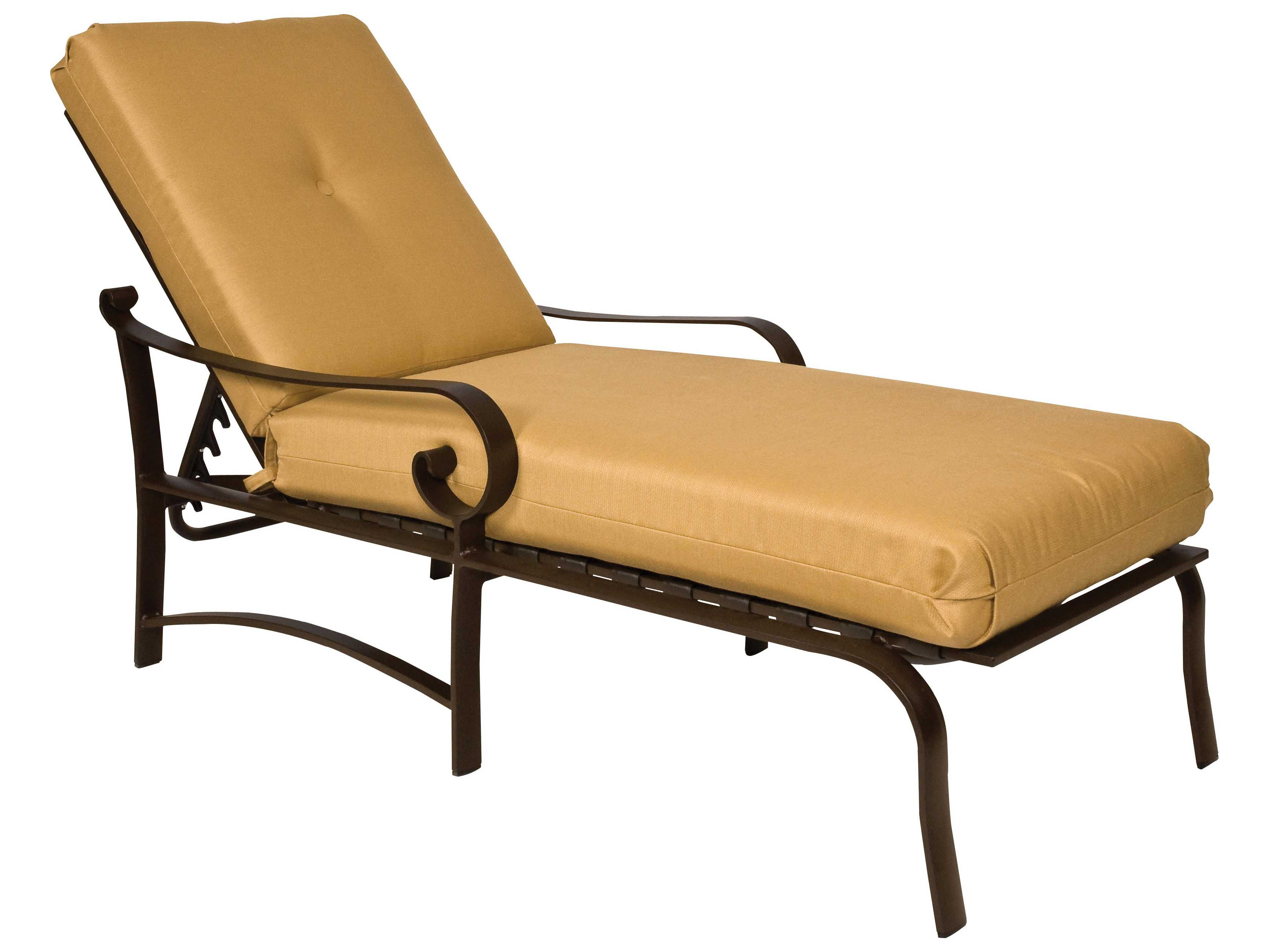 Woodard belden cushion aluminum adjustable chaise lounge for Chaise longue textilene alu