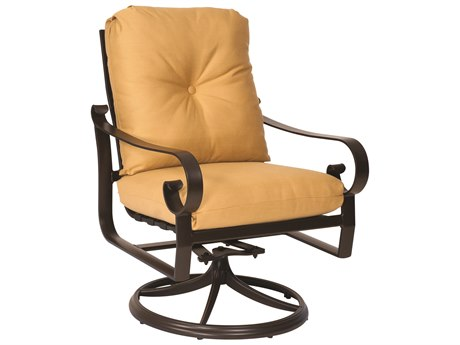 Woodard Belden Cushion Aluminum Swivel Rocker Dining Arm Chair
