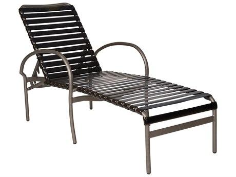 Woodard Rivington Strap Aluminum Adjustable Stackable Chaise Lounge