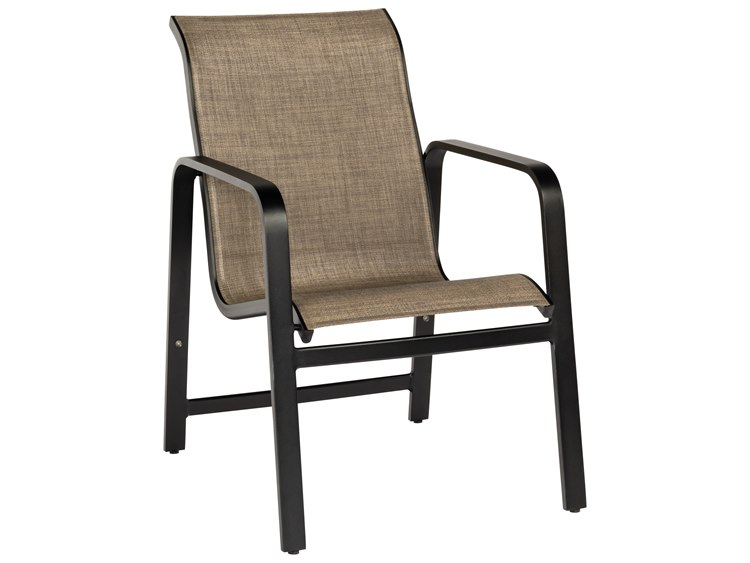 Woodard Landings Sing Aluminum Stackable Dining Arm Chair PatioLiving
