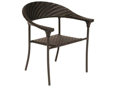 Woodard Whitecraft Barlow Wicker Dining Arm Chair w/ Seat Cushions