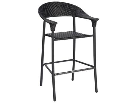 Woodard Whitecraft Barlow Wicker Stationary Bar Stool w/ Seat Cushion