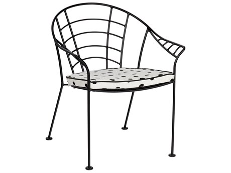 Woodard Hamilton Wrought Iron Dining Arm Chair with Cushion