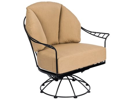 Woodard Hamilton Wrought Iron Cushion Swivel Rocking Lounge Chair