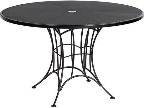 Woodard Hamilton Wrought Iron 48''Wide Round Dining Table with Umbrella Hole