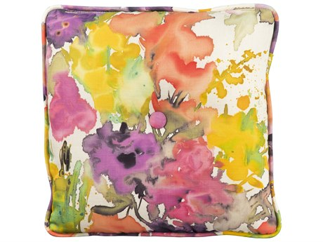 Woodard 16 Square Throw Pillow with Button and Two Sided Fabrics