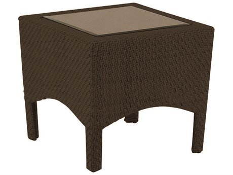 Woodard Trinidad Wicker 23.5 Square Glass Top End Table PatioLiving
