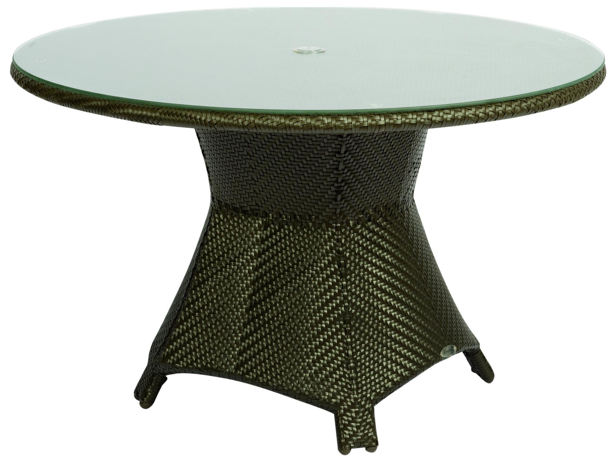 Woodard Trinidad Wicker 48 Wide Round Glass Top Dining Table With Umbrella Hole Wr6u0165j