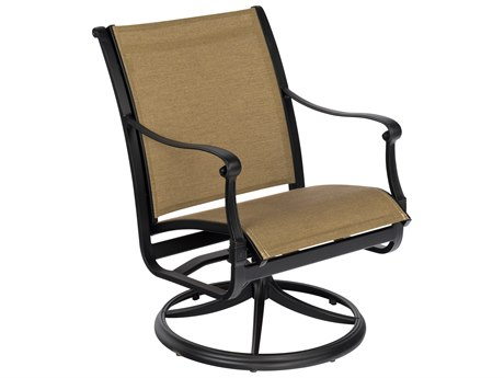 Woodard Wilshire Sling Cast Aluminum Swivel Dining Chair