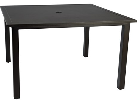 Woodard Elemental Aluminum 48 Square Table with Umbrella Hole