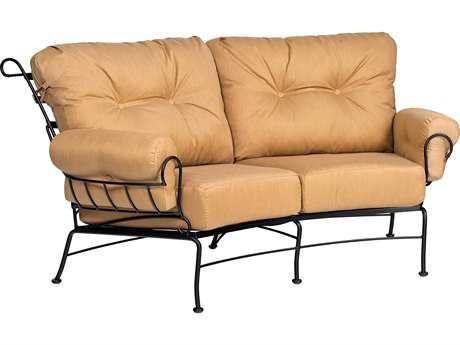 Woodard Terrace Cushion Wrought Iron Crescent Loveseat