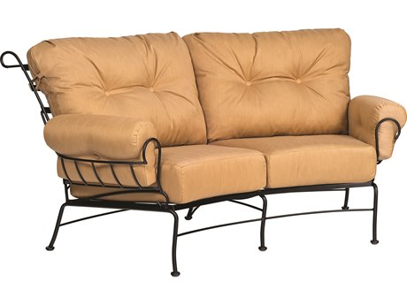 Woodard Terrace Cushion Wrought Iron Crescent Loveseat