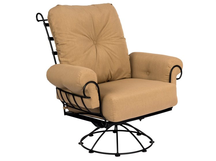 Woodard Terrace Cushion Wrought Iron Swivel Rocker Lounge Chair PatioLiving