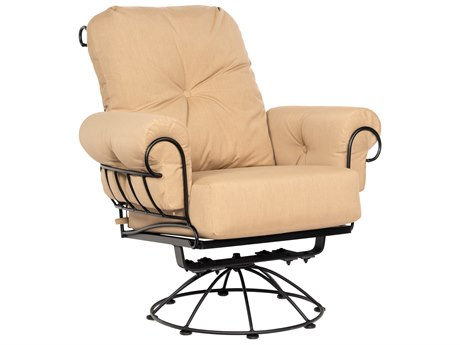 Woodard Terrace Cushion Wrought Iron Smaller Swivel Rocker Lounge Chair