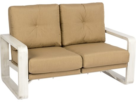 Woodard Vale Aluminum Dual Rocking Loveseat with Upholstered Back