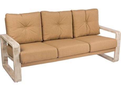 Woodard Vale Aluminum Cushion Sofa with Upholsterted Back