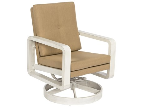 Woodard Vale Aluminum Swivel Rocking Dining Chair with Upholstered Back