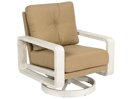 Woodard Vale Aluminum Swivel Lounge Chair with Upholstered Back