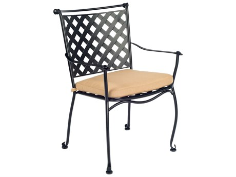 Woodard Maddox Wrought Iron Stackable Dining Arm Chair with Cushion