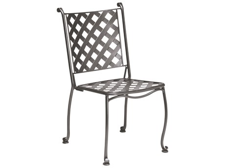 Woodard Maddox Wrought Iron Stackable Bistro Side Chair with Cushion