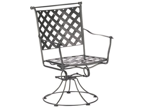 Woodard Maddox Wrought Iron Swivel Rocker Dining Arm Chair with Cushion
