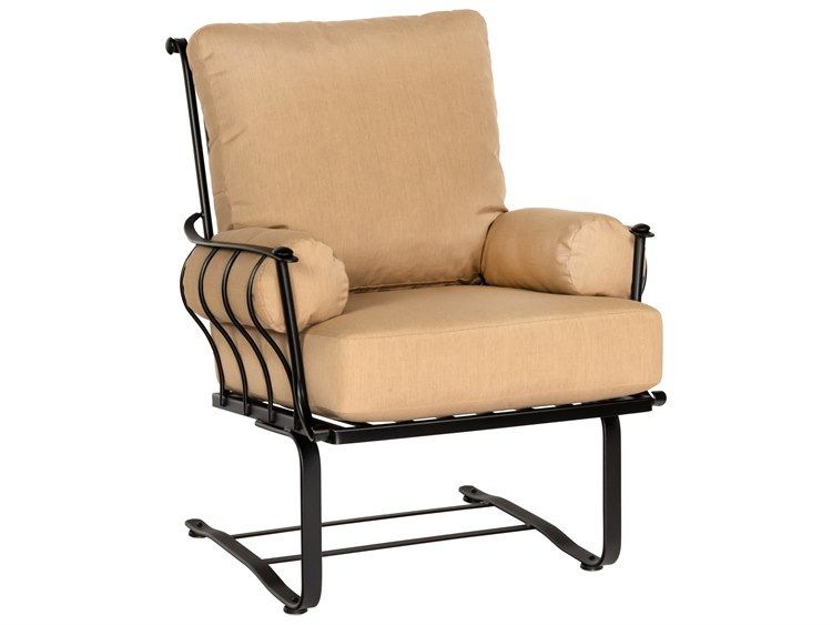 woodard maddox wrought iron spring lounge chair with arm cushions 7f0265. Black Bedroom Furniture Sets. Home Design Ideas