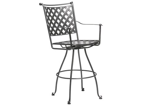 Woodard Maddox Wrought Iron Swivel Bar Stool w/ Seat Cushion