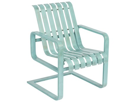 Woodard Colfax Aluminum Spring Dining Arm Chair w/ Seat & Back Cushion