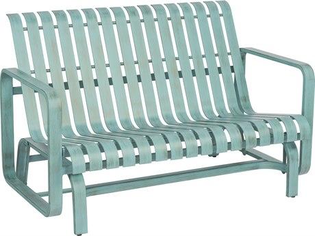 Woodard Colfax Aluminum Love Seat Glider w/ Seat & Back Cushion
