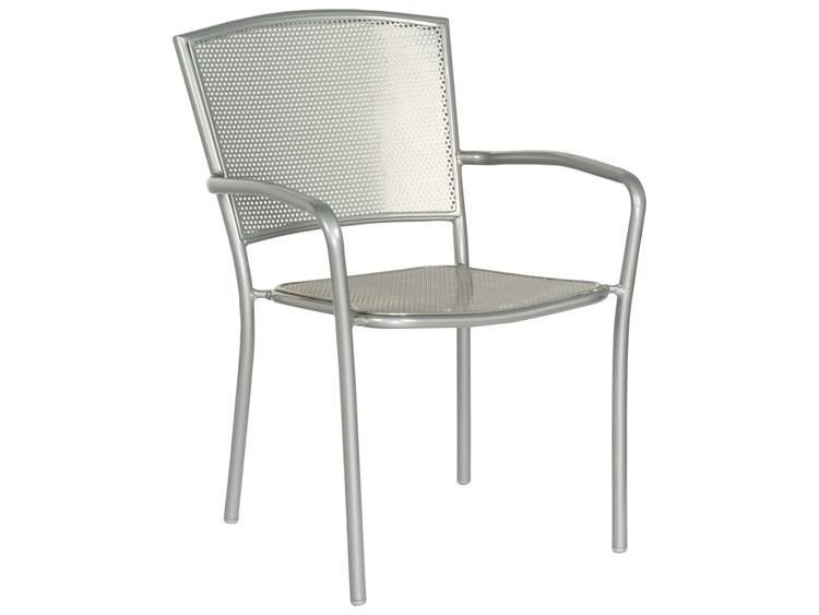 Woodard Quick Ship Albion Wrought Iron Dining Chair in Mercury Finish PatioLiving