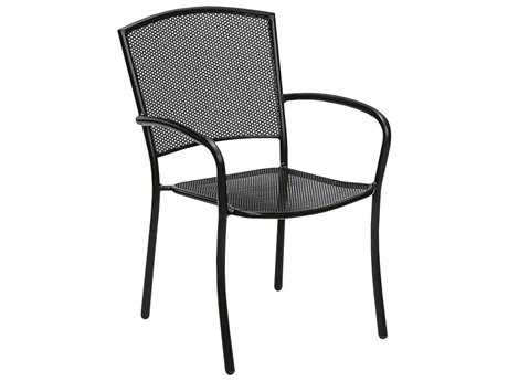 Woodard Quick Ship Albion Wrought Iron Dining Chair in Mercury Finish