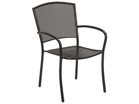 Woodard Albion Wrought Iron Textured Black Stackable Dining Arm Chair