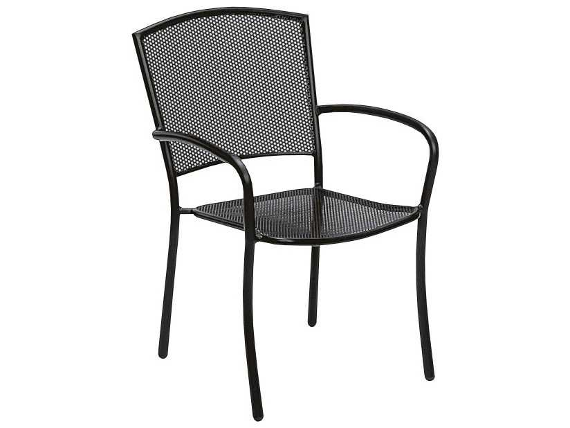Woodard albion wrought iron dining chair in textured black for Wrought iron cafe chairs