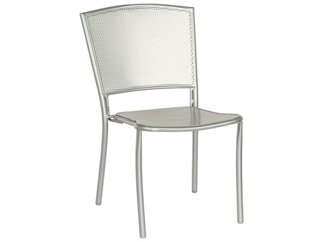 Woodard Quick Ship Albion Wrought Iron Silver Mercury Stackable Dining Side Chair