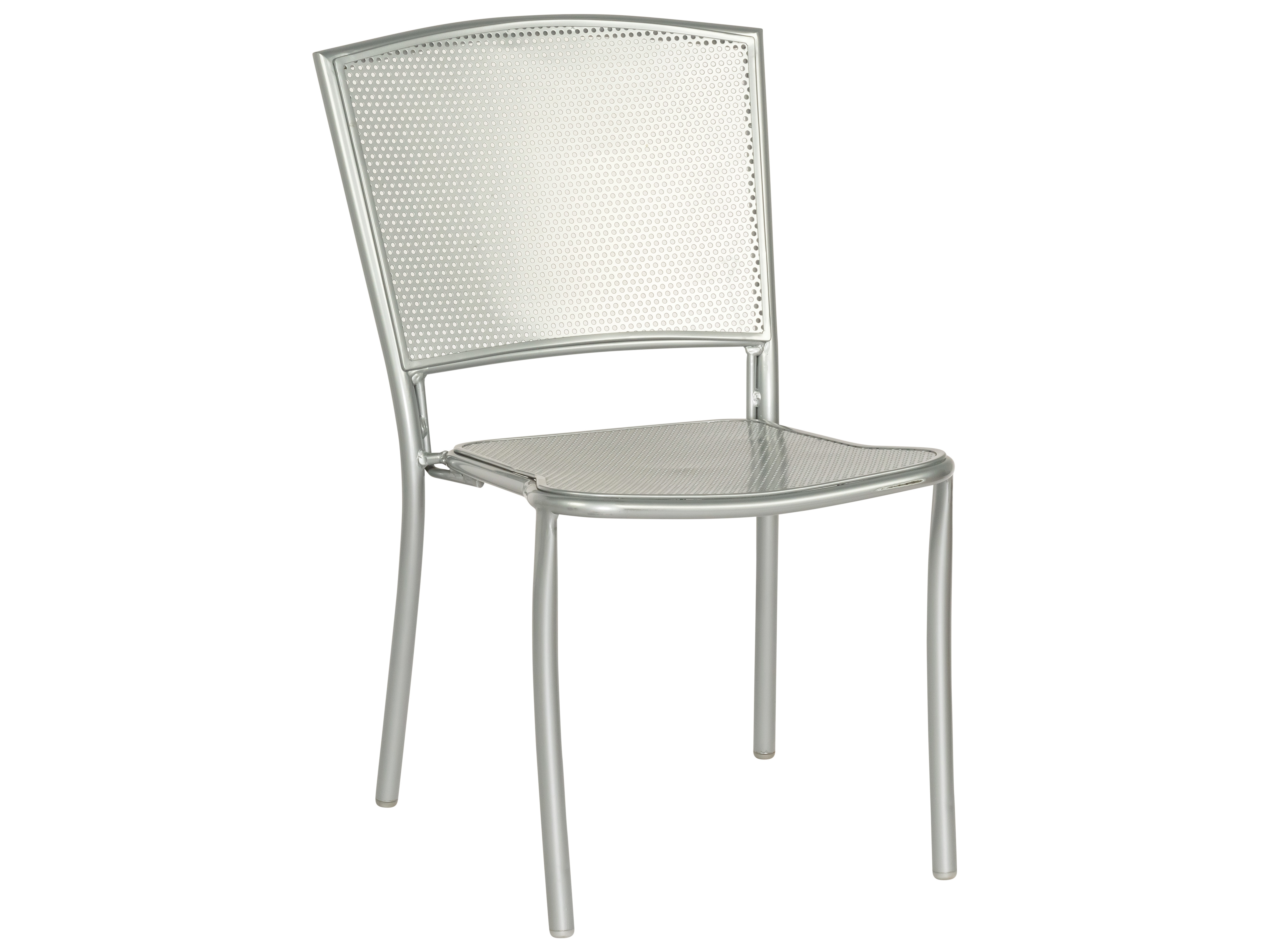 Woodard Albion Wrought Iron Silver Mercury Stackable Dining Side Chair Wr7r0022 17