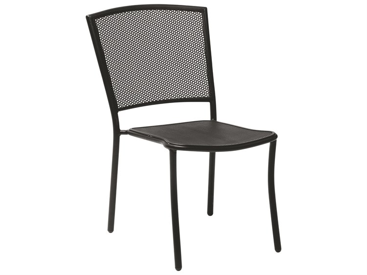 Woodard Quick Ship Albion Wrought Iron Textured Black Stackable Dining Arm Chair PatioLiving