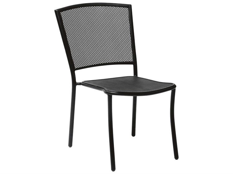Woodard Quick Ship Albion Wrought Iron Side Chair in Mercury Finish