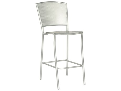 Woodard Quick Ship Albion Wrought Iron Bar Stool in Mercury Finish