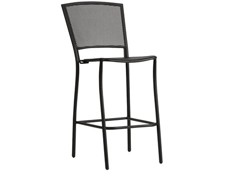 Woodard Albion Wrought Iron Bar Stool in Textured Black