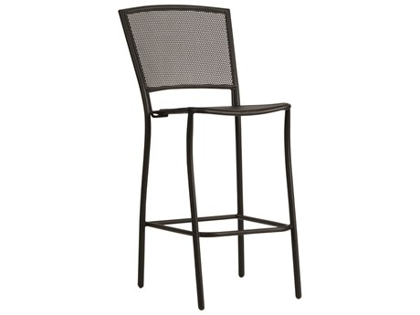 Woodard Quick Ship Albion Wrought Iron Bar Stool in Textured Black