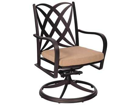 Woodard Apollo Cast Aluminum Swivel Rocker Dining Chair with Cushion