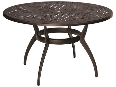 Woodard Apollo Cast Aluminum 48 Round Dining Table with Umbrella Hole