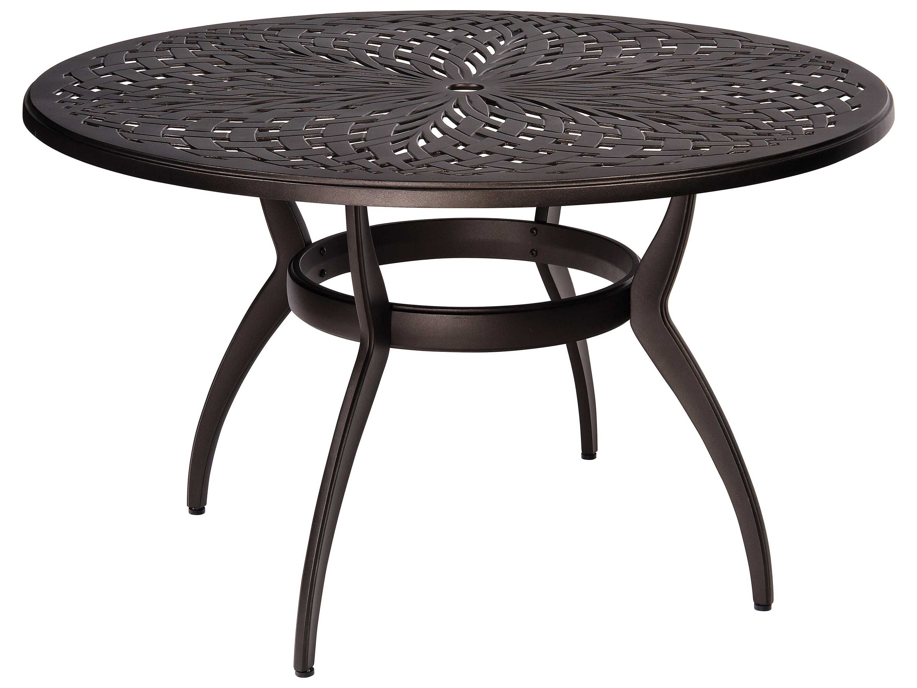 woodard apollo aluminum 48 round dining table with. Black Bedroom Furniture Sets. Home Design Ideas