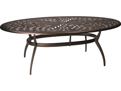 Apollo Cast Aluminum 84''W x 48''D Oval Dining Table with Umbrella Hole