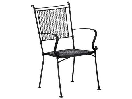 Woodard Bradford Mesh Wrought Iron Chair Stackable